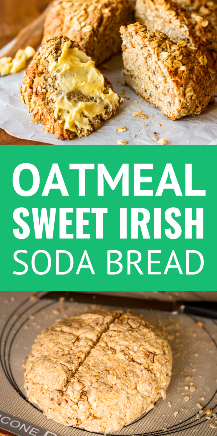 Walnut Oatmeal Sweet Irish Soda Bread -- A twist on the traditional Irish soda bread recipe, this oatmeal soda bread recipe is slightly sweet and nutty, with a dense texture that pairs perfectly with a creamy slathering of butter. Try it as a meal side or as breakfast or a snack with a hot cup of coffee or tea! | easy soda bread | soda bread recipe | cast iron soda bread | st patricks day food #bread #breadrecipe #irishsodabreadrecipe #irish #stpatricksday