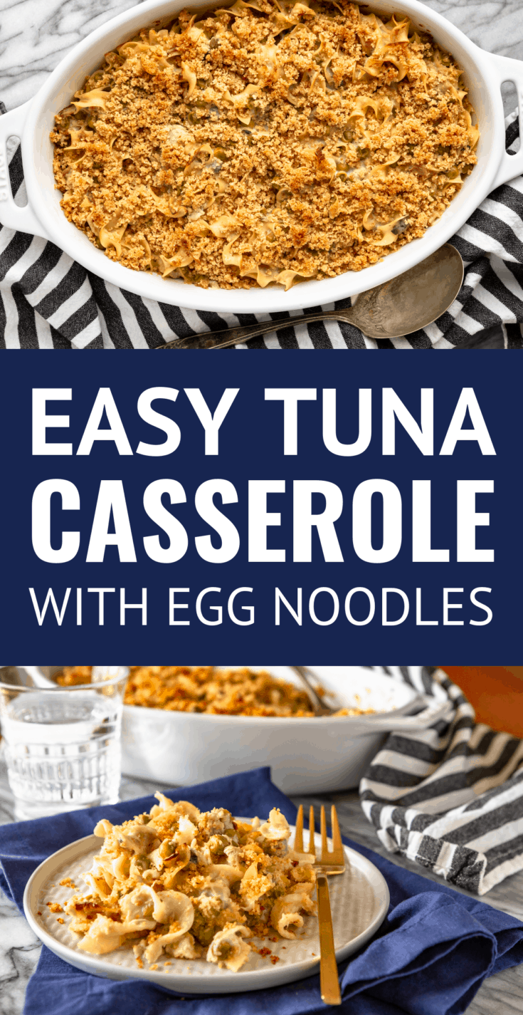 Easy Tuna Casserole With Egg Noodles -- this classic tuna casserole recipe was always one of my mom's go-to recipes when I was growing up... And I can totally see why. Tuna noodle casserole is quick to prep, tasty, and versatile! | easy tuna casserole recipe | how to make tuna casserole | with cream of mushroom soup | #tunacasserole #cannedtuna #tunarecipes #easyrecipe #casserole
