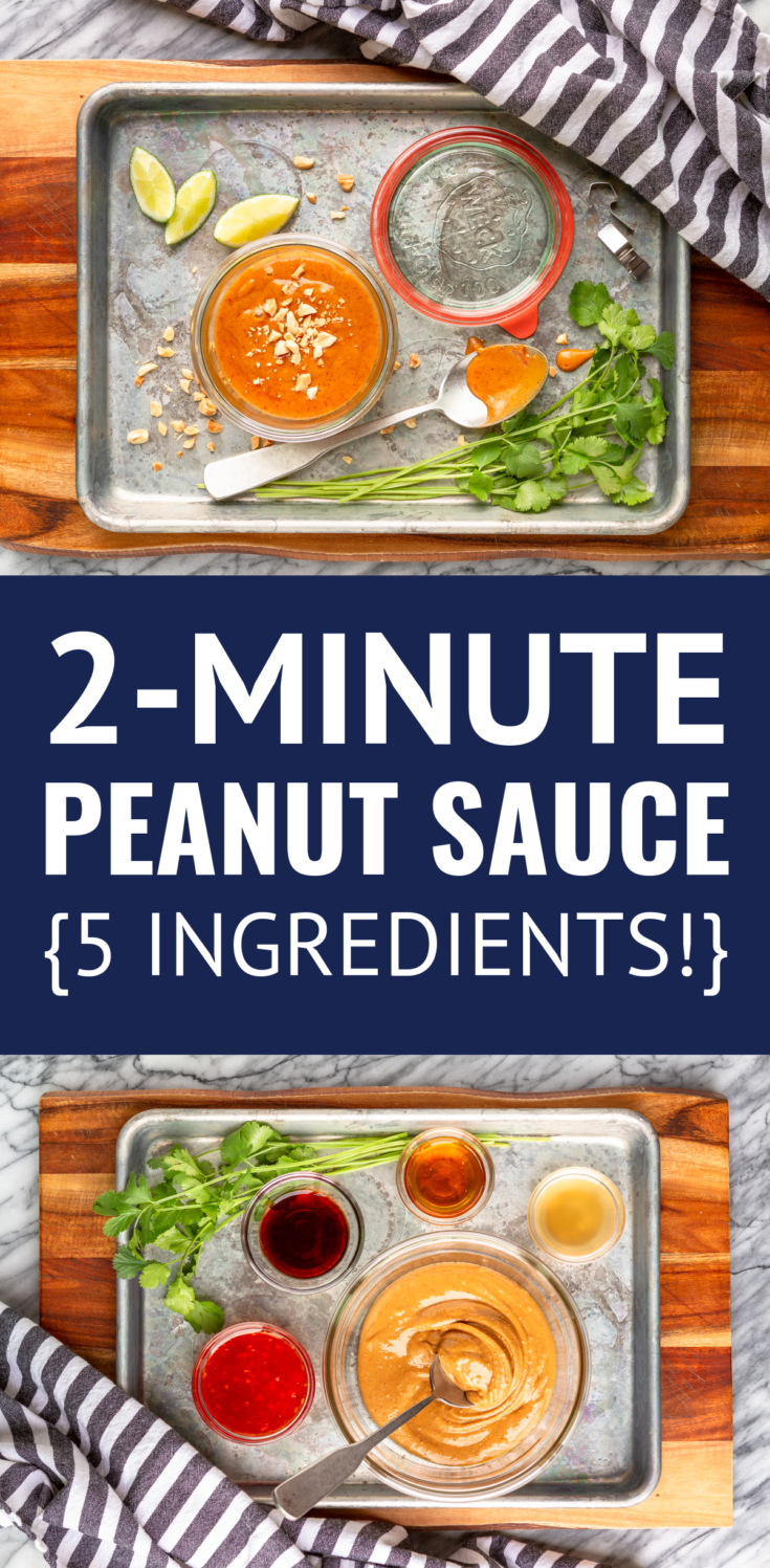 2-Minute Easy Peanut Sauce For Dipping & Dressing -- this flavorful and EASY peanut sauce recipe uses just 5 ingredients and can be whipped up in under 2 minutes! Peanut butter sauce is delicious as a dip for veggies or spring rolls, a salad dressing, on cold noodles, or over chicken. | thai peanut sauce recipe | how to make peanut sauce | healthy peanut sauce | homemade peanut sauce #peanutbutter #peanutsauce #peanutdressing #thaipeanut #easyrecipe #diprecipes #diprecipeseasy