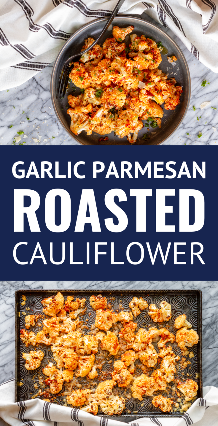 Smoky Garlic Parmesan Roasted Cauliflower -- this delicious Parmesan roasted cauliflower recipe is packed with the bold flavors of smoked paprika, garlic, and shaved aged Parmesan cheese. It's the perfect easy side dish for any entree! Oh, and it just so happens to be low carb and keto-friendly... | how to roast cauliflower | how long to roast cauliflower | roasted garlic cauliflower #roastedcauliflower #cauliflowerrecipes #cauliflower #garlic #parmesan #lowcarbrecipes #ketorecipes
