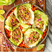 Easy Asian Ground Pork Lettuce Wraps