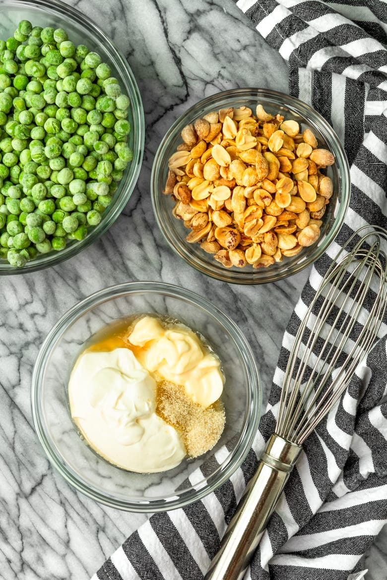 how to make pea and peanut salad with frozen peas