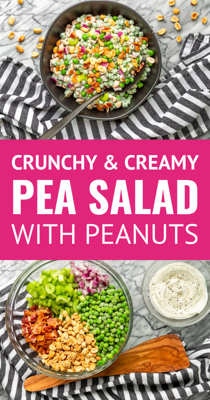 Crunchy & Creamy Green Pea and Peanut Salad -- This crunchy and creamy cold pea salad recipe is destined to be the belle of the ball at potlucks and cookouts this summer! It's a totally easy side dish filled with sweet peas, crispy bacon, roasted peanuts, chopped celery + diced red onion, all dressed in a sweet & tangy sour cream/mayo dressing. | easy pea salad | old fashioned pea salad | best pea salad #peasalad #saladrecipes #cookoutfood #potluckrecipe #potluckfood #summerrecipes #summerfood