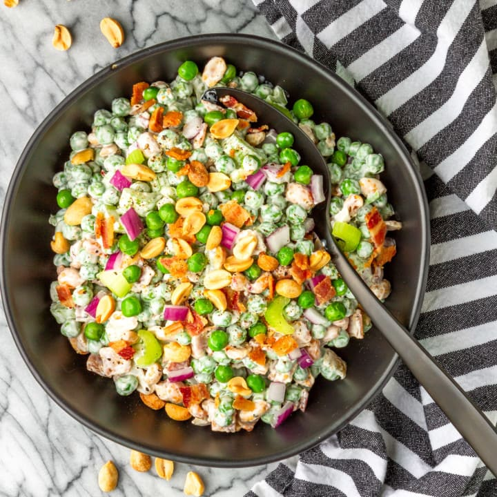Crunchy & Creamy Green Pea and Peanut Salad