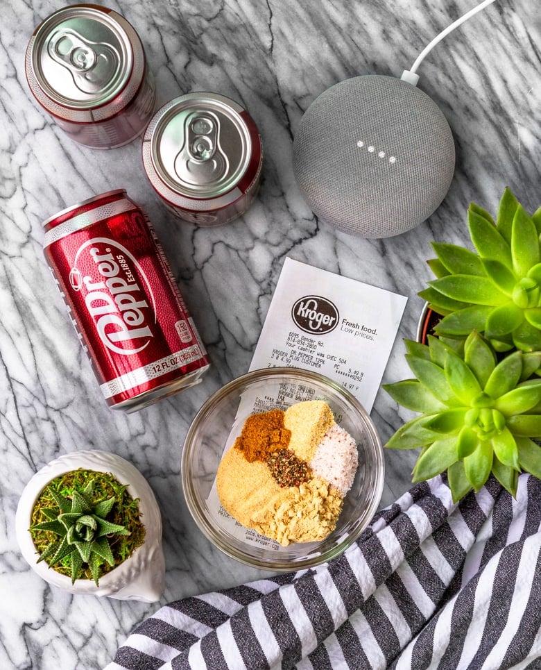 pulled pork instant pot Dr Pepper and spices ordered via Google Assistant