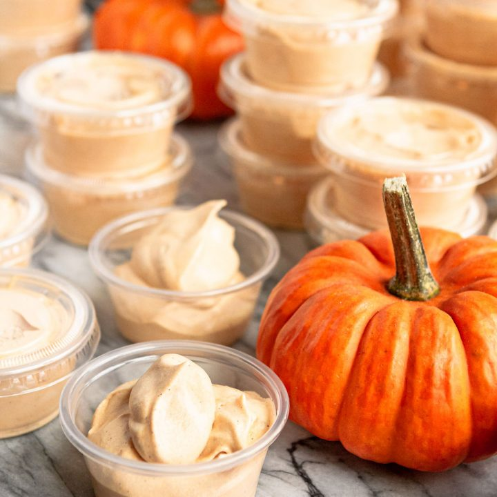 pumpkin spice pudding shots in plastic pudding shot cups
