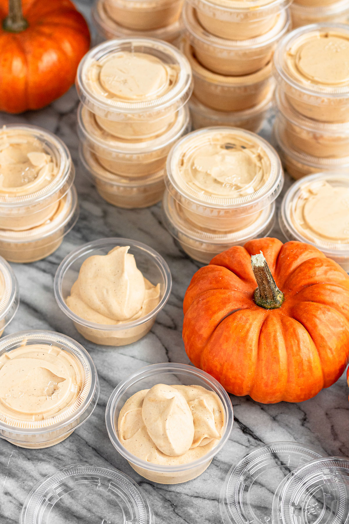 pumpkin spice pudding shots in condiment cups