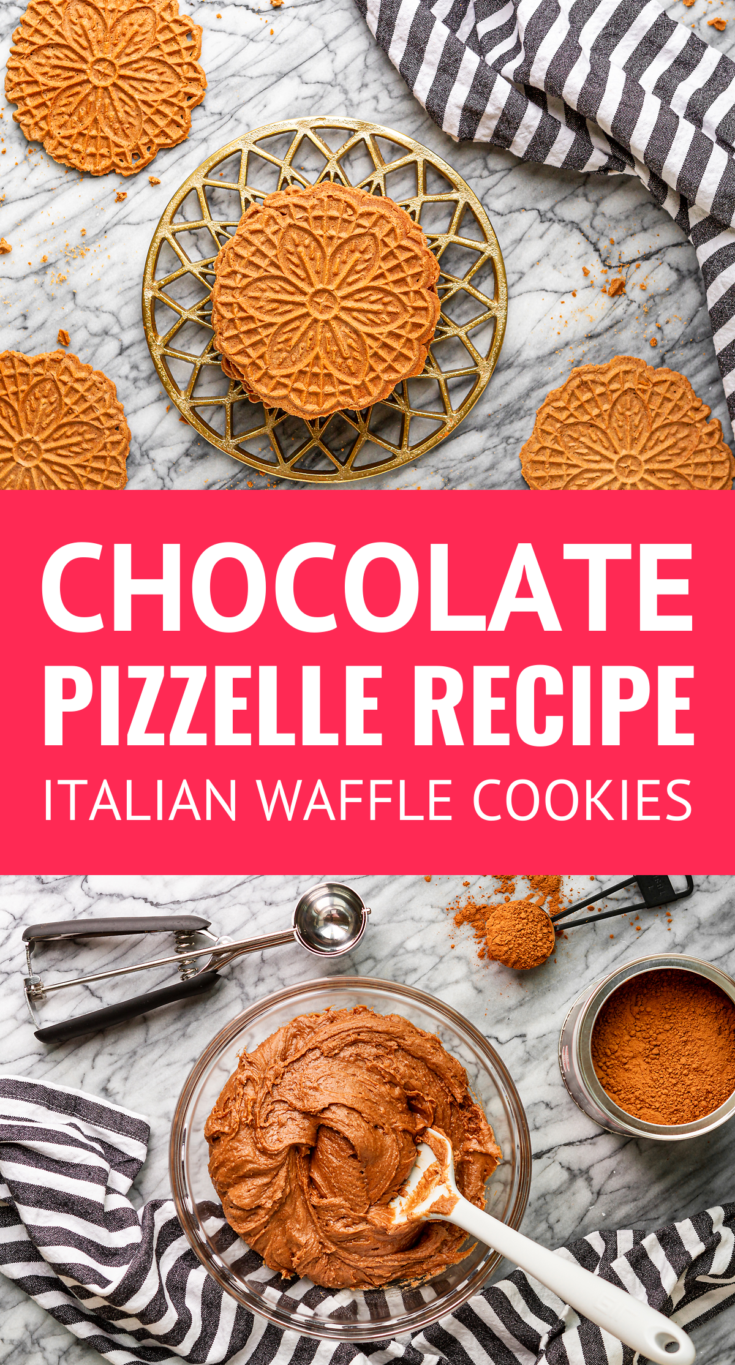Crispy Chocolate Pizzelle Recipe -- this easy chocolate pizzelles recipe produces light and crispy chocolate Italian waffle cookies using a pizzelle iron! Making chocolate pizzelle cookies is a Christmas Eve holiday tradition in our home... | pizzelle recipe ideas | pizzle cookies | pizzele | pizzeles #pizzelle #cookies #cookierecipes #christmascookies #christmas
