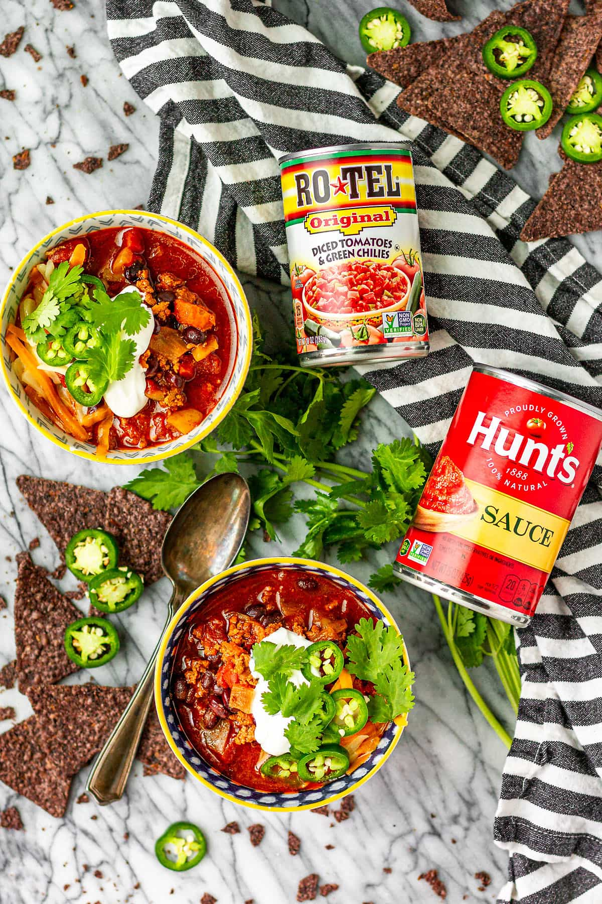 ground turkey chili recipe made with rotel and hunt's tomato sauce