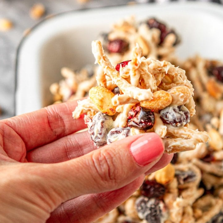 haystack cookie recipe with peanuts, dried cranberries, and chow mein noodlers