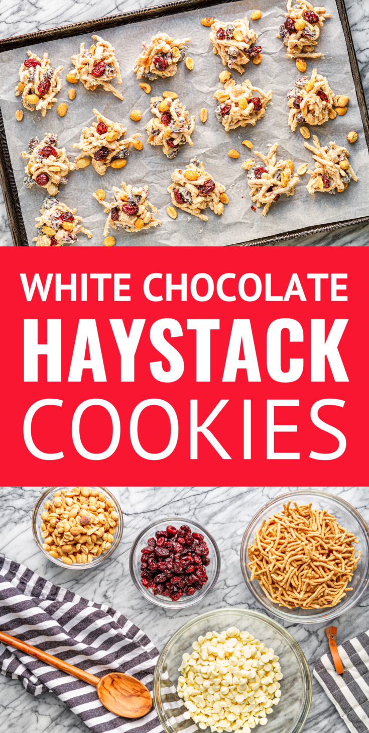 No-Bake Haystack Cookies -- made with just four ingredients and ready in 10 minutes (plus cooling time), these salty-sweet haystack cookies, filled with white chocolate, salted dry roasted peanuts, chow mein noodles, and dried cranberries, are sure to be a holiday (and every day) hit! | haystack cookie recipe | ting-a-lings recipe #haystackcookies #cookies #cookierecipes #christmascookies #christmas #peanuts