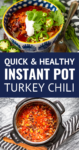 instant pot turkey chili in a blue and white bowl