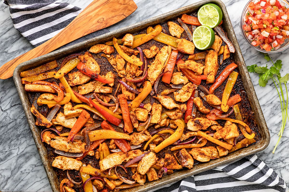 sheet pan with baked chicken fajitas oven