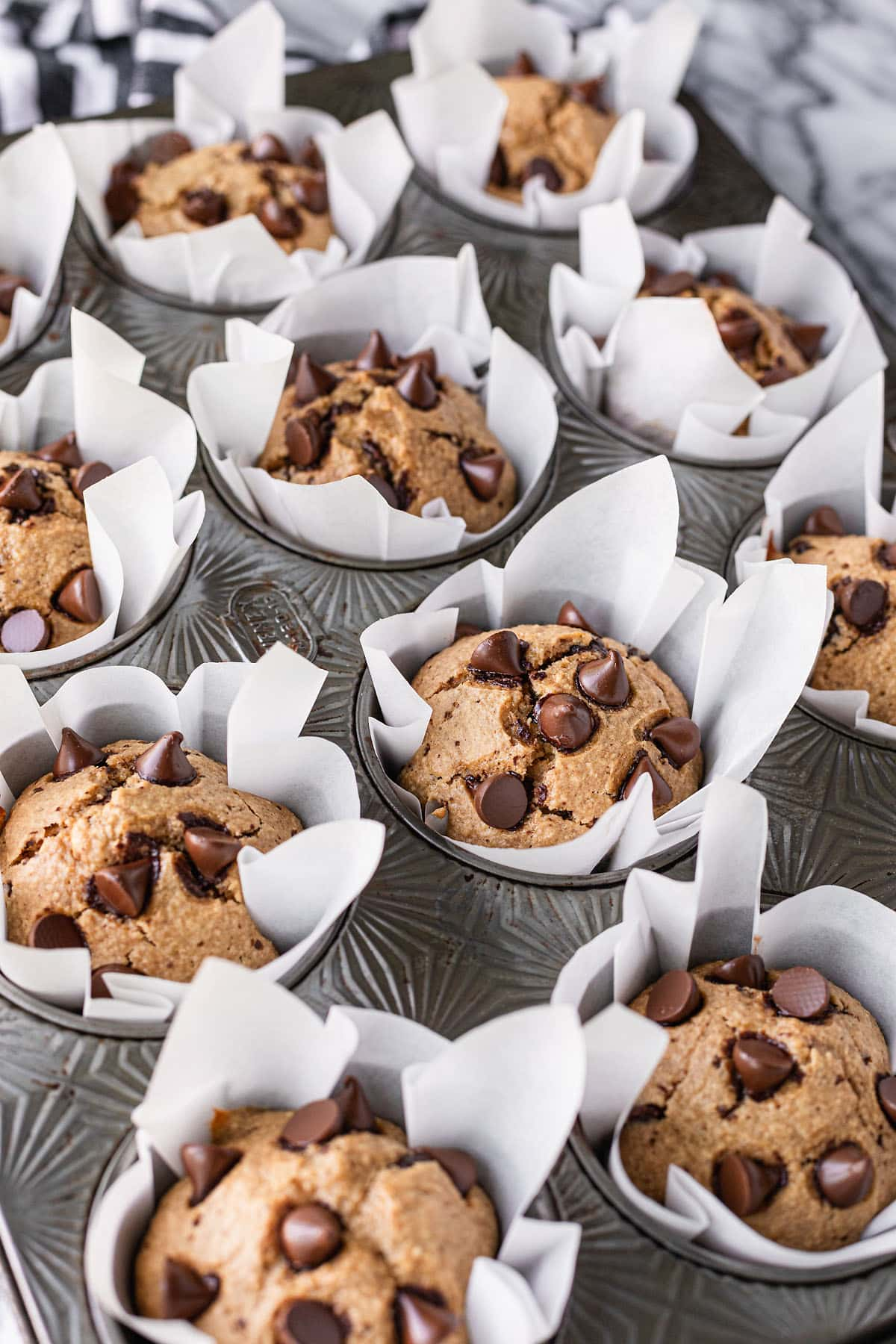 muffins baked in diy cupcake liners made from parchment paper