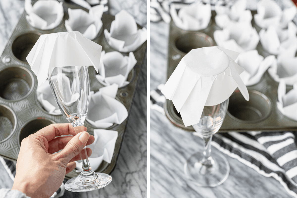 demonstrating how to make tulip muffin liners with a glass and parchment paper