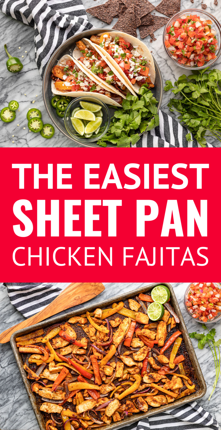 The EASIEST Sheet Pan Chicken Fajitas -- need an idea for a super simple weeknight meal? I've got ya with these *easy* sheet pan chicken fajitas! Totally delish as is or dress them up with your fave fajita toppings... Options we love are: pico de gallo, guacamole, crumbled cotija cheese, crema Mexicana, chopped cilantro, and lime wedges for squeezing over top. | chicken fajitas oven | chicken fajita seasoning | chicken fajitas recipe #chickenfajitas #sheetpanmeals #sheetpan #easyrecipes