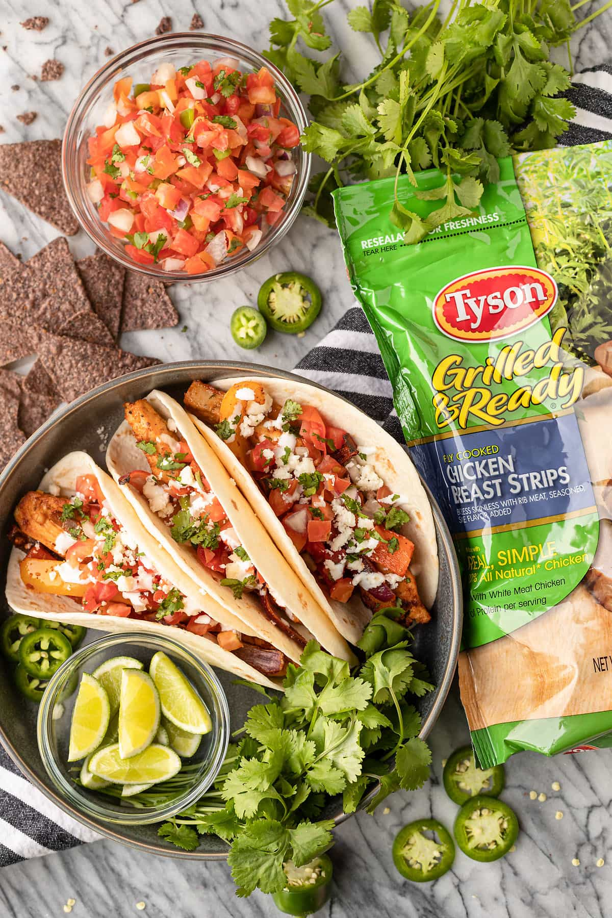 sheet pan chicken fajitas using Tyson grilled chicken