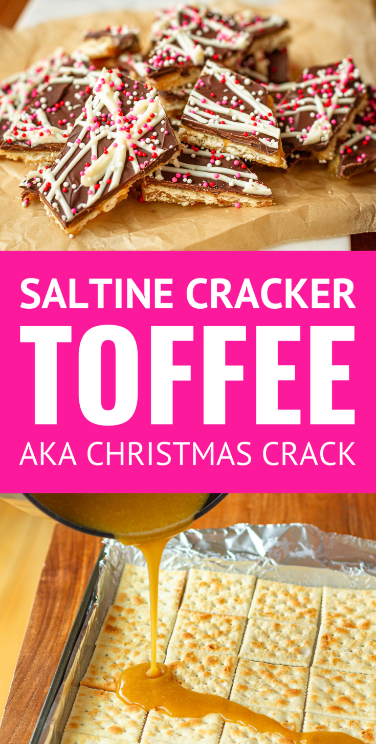Saltine Cracker Toffee (AKA Christmas Crack or sometimes Crack Crackers) -- you won't believe how insanely easy this saltine cracker toffee recipe is. It makes the most delicious and versatile candy ever! You can totally customize the toppings and/or type of crackers to make this recipe your own... It's typically a Christmas candy staple, but I've dressed it up for Valentine's Day! #saltinecrackertoffee #saltinetoffee #saltines #christmascrackers #valentinesday #valentinesdaytreats #valentinesdayfood
