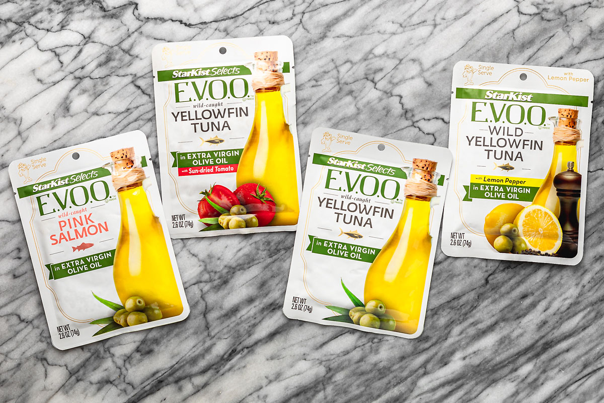 4 varieties of starkist EVOO pouch tuna for mediterranean tuna salad