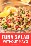 tuna salad without mayo in a glass bowl pinterest graphic