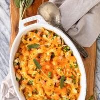 turkey noodle casserole recipe garnished with fresh sage in a white casserole dish